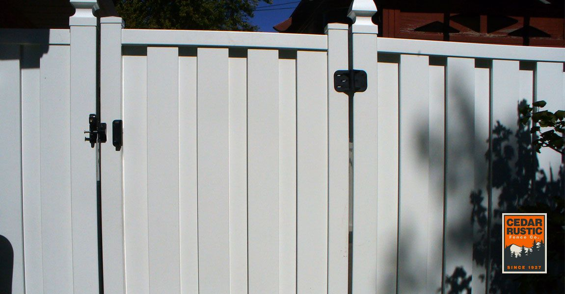 White Vinyl Shadow Board Gate Cedar Rustic Fence Co