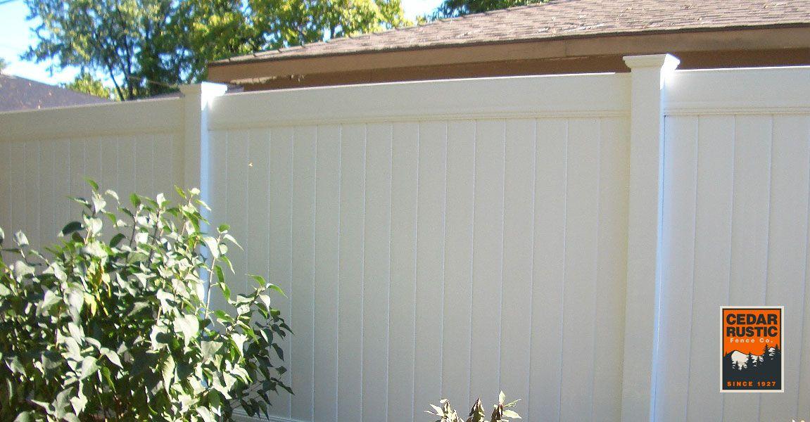 White Solid Vinyl Fence Cedar Rustic Fence Co