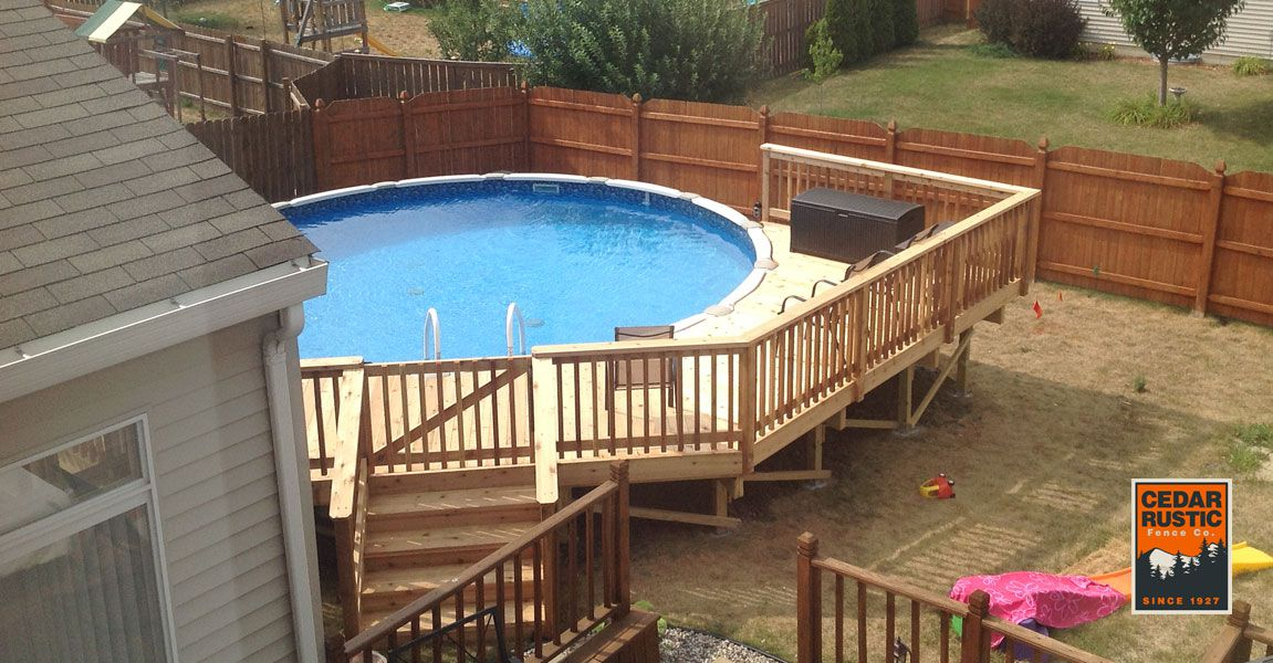 Half Wrap Pool Deck Cedar Rustic Fence Co